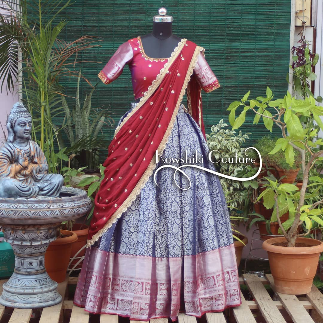 Stunning Heavy zari floral half saree. Price ₹11000. 2021-09-18