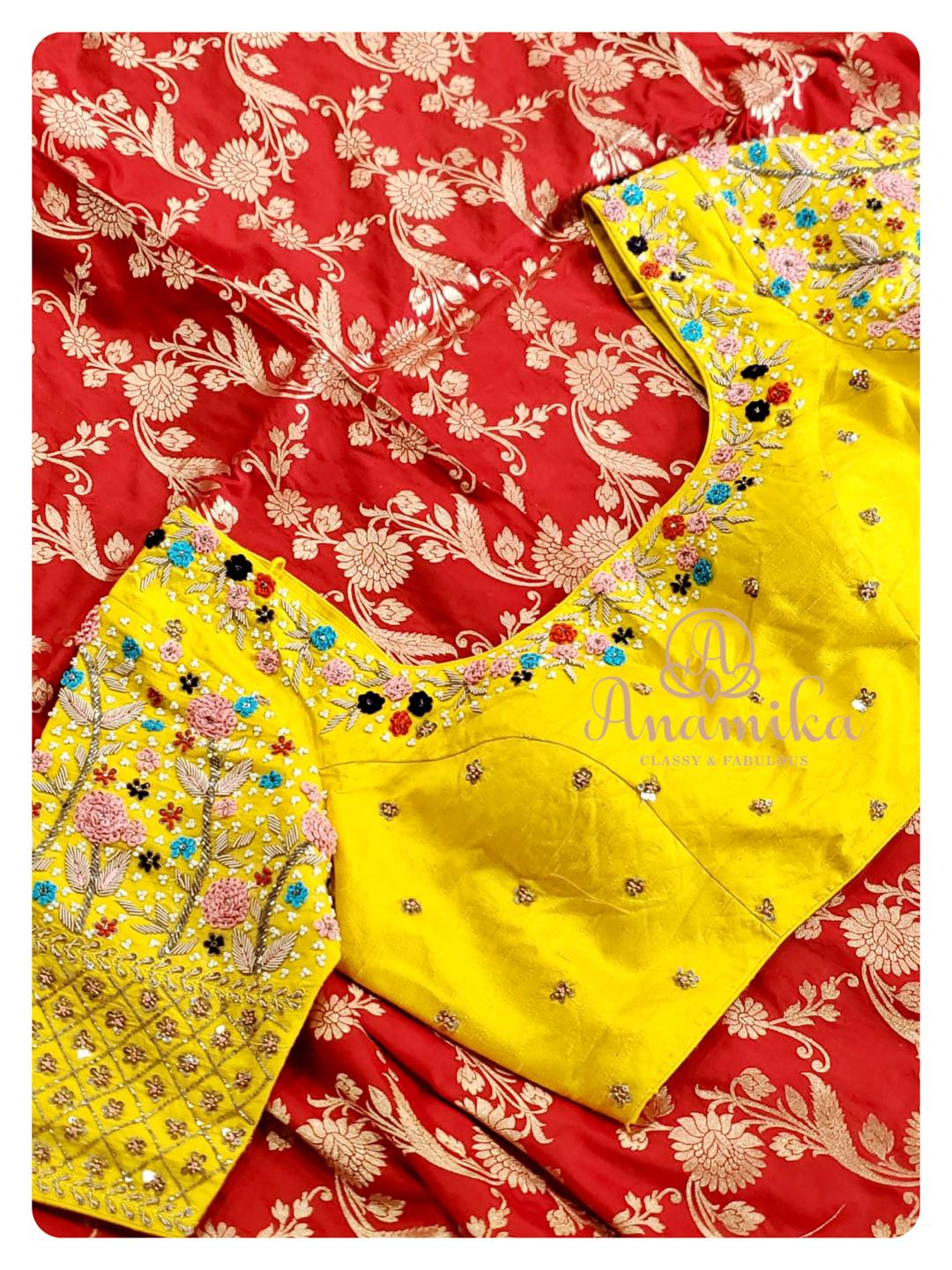 Bring on that Festive Glam with this red Banarasi Silk Saree !  Elegantly paired with a contrast yellow hand work blouse - steal the show in this awesome ensemble !!  DM 360-545-3636 for inquiries 2021-09-19