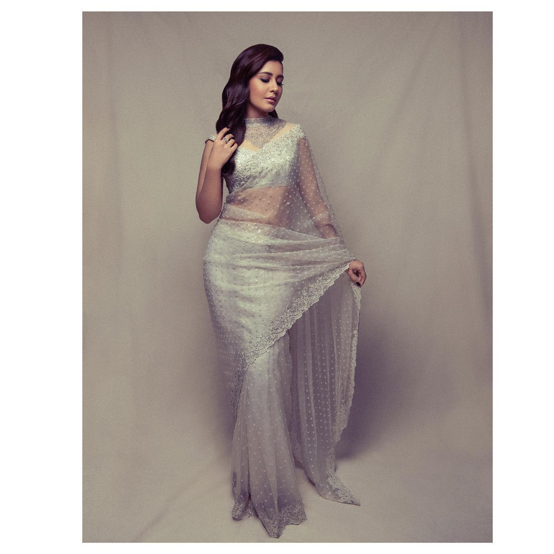 Beautiful actress Raashi Khanna in tulle designer saree for Sakshi excellence awards.   2021-09-19