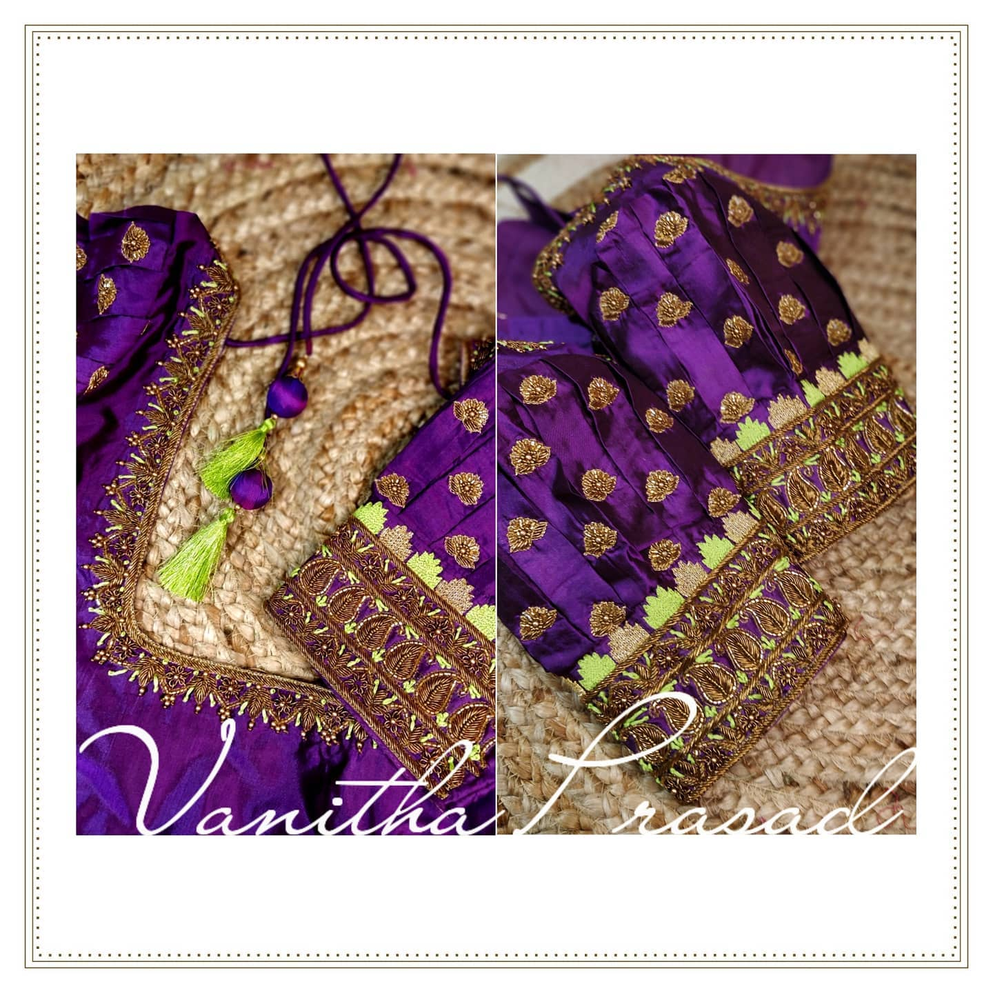 Royal purple blouse for green 9yards saree. Royal purple color bridal blouse with bead maggam work on neckline and sleeves. 2021-09-20