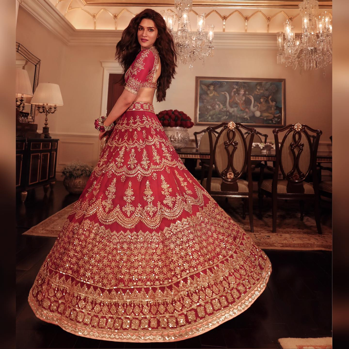 And on this eternal journey to create a cinematic splendor they met the breathtaking Kriti Sanon in Nooraniyat's scarlet ensemble ornamented in cord and sequins beaded in shades of flickering gold.   2021-09-20