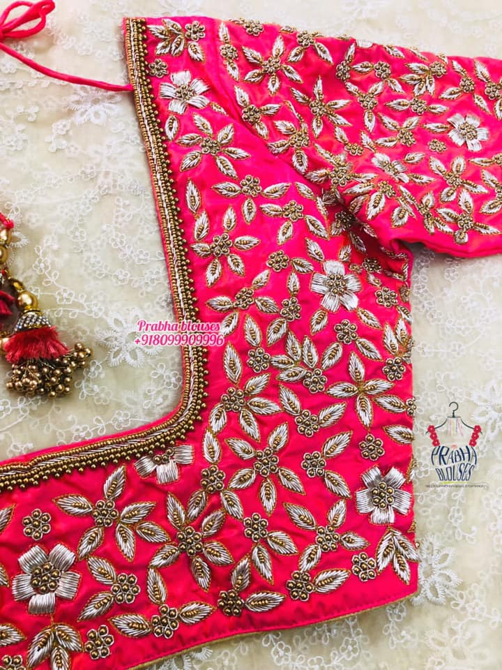 Gorgeous pink color bridal blouse with floral silver thread maggam work allover. 2021-09-20