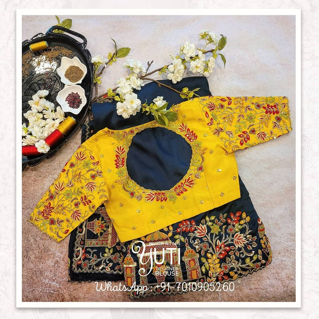 Gorgeous yellow color bridal blouse with creeper hand embroidery gold and red thread maggam work.  2021-09-20