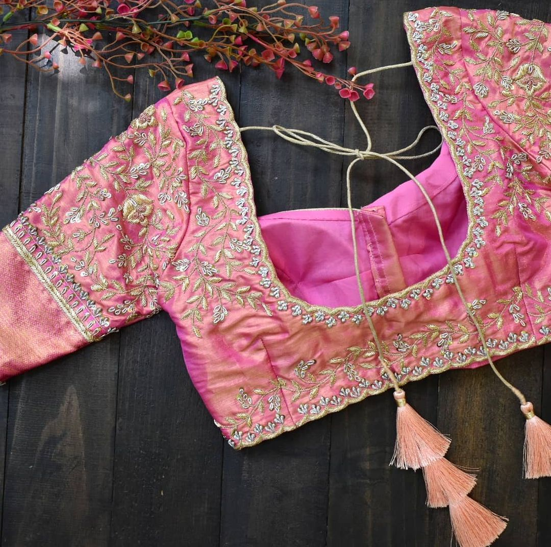 Keep it silver! Keep it subtle! Stunning blush pink color bridal blouse with silver zardosi work. 2021-09-20