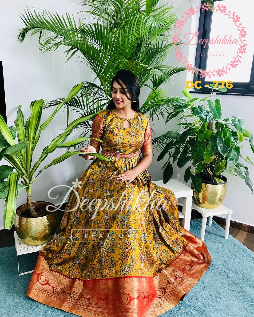 Gorgeous mustard yellow color kalamkari print pattu long frock. DC - 776 For queries kindly whatsapp: +91 9059683293. They don't have any resellers or branches. 2021-09-20