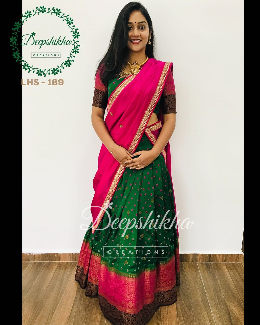 Gorgeous green and pink color combination traditional pattu langa voni. LHS - 189. For queries kindly whatsapp: +91 9059683293. 2021-09-20