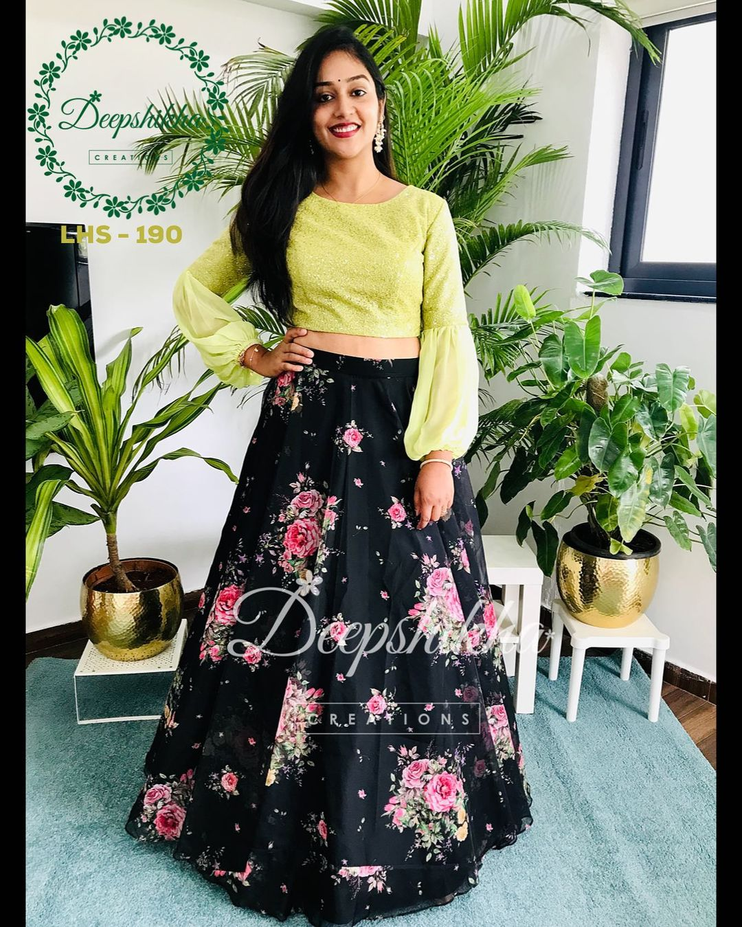 Beautiful black floral skirt and full sleeve crop top. LHS - 190. For queries kindly whatsapp: +91 9059683293 . 2021-09-20