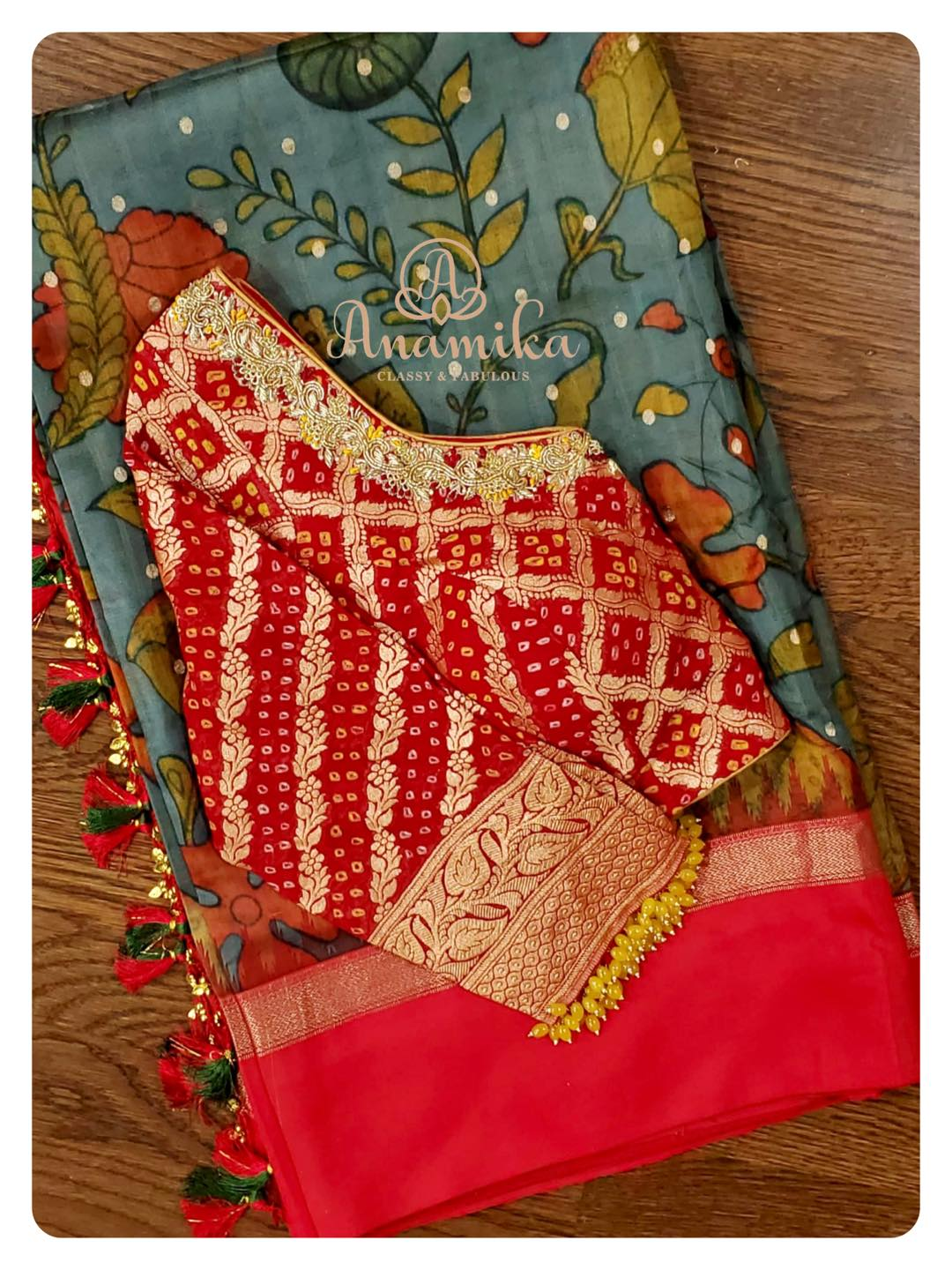 Kalamkari on gadwal pattu saree... elegantly paired with a bandini georgette blouse. This saree is designed using all natural vegetable dye colors.. *Be Special  Feel Special* DM 360-545-3636 for inquiries… 2021-09-21