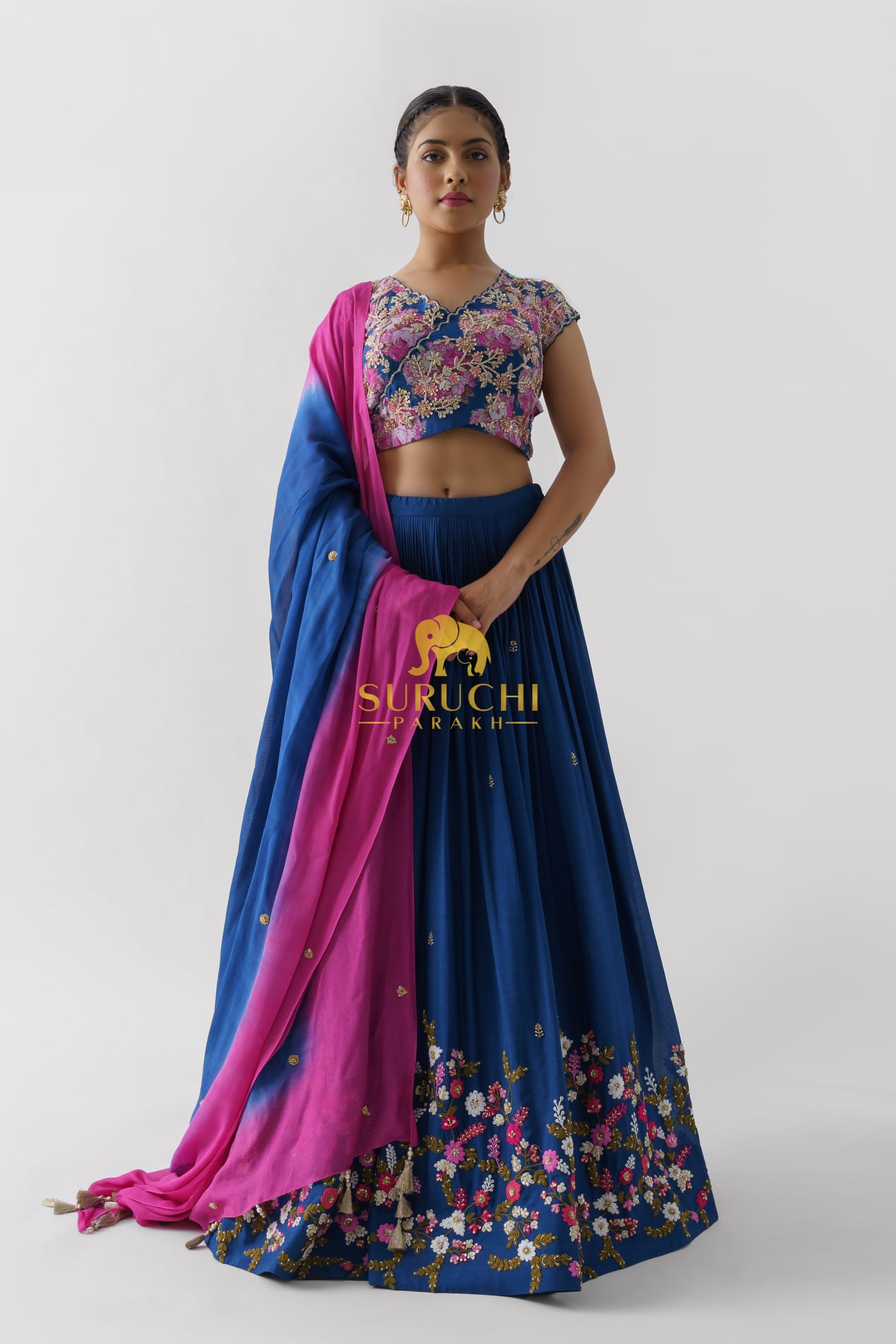 Stunning blue color bridal lehenga set with floral classy hand embroidery work. 2021-09-21