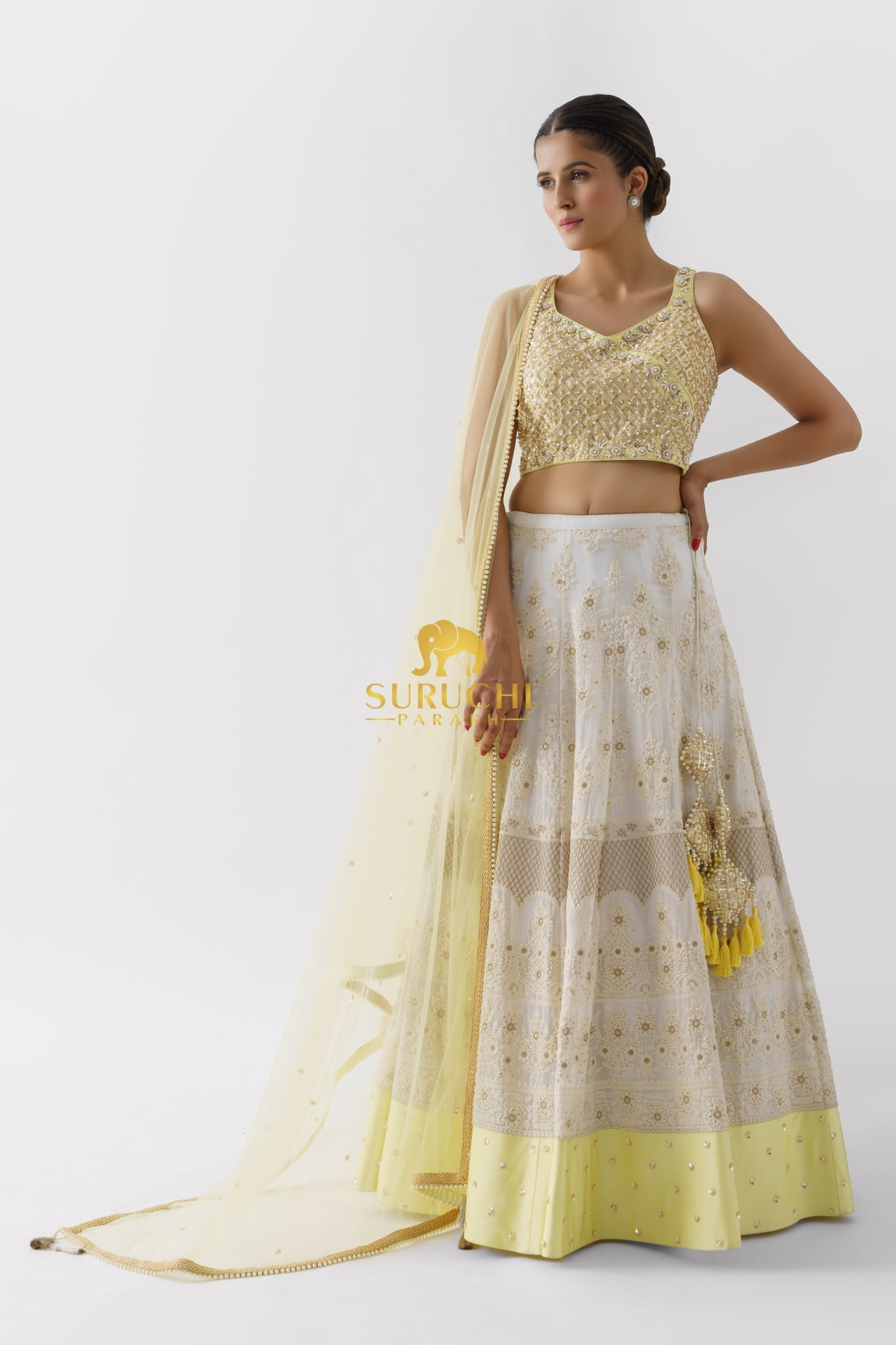 Gorgeous off white color bridal lehenga set with hand embroidery work.  2021-09-21