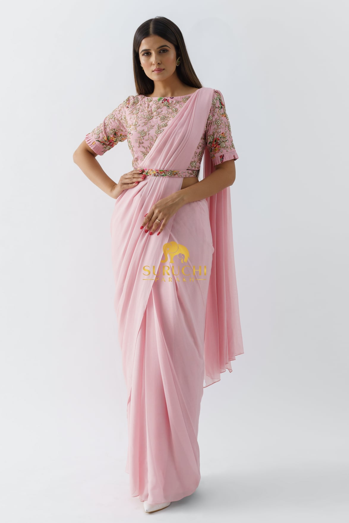 Lovely blush pink color designer saree and boat neck blouse with waist belt. Blouse and waist with floral classy hand embroidery work.  2021-09-21