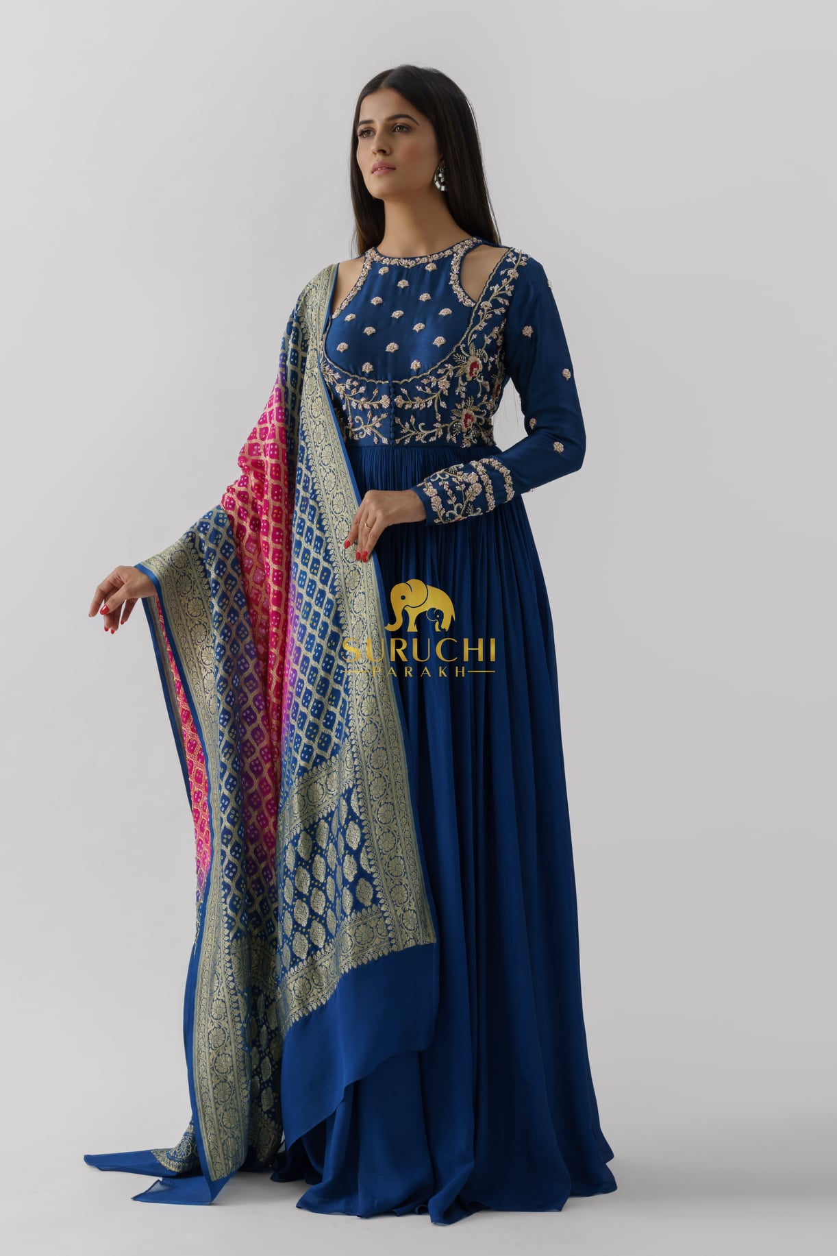 Stunning blue color floor length cold shoulder long frock with benarasi dupatta. Long frock with hand embroidery work.  2021-09-21