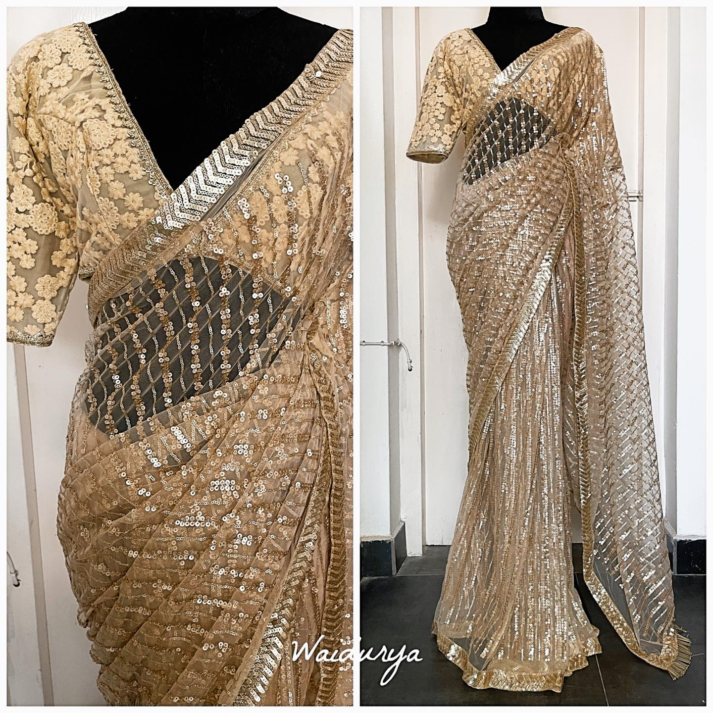 SONA. Sona is a full gold full sequin embroidered full glam beauty! this soft net sari is fully embroidered in a high quality sequin in a stripe design all over. The border is a sequin embroidered one in a chevron design making it just that much more rich. The handmade gold glass bead tassels at the pallu edge finish the look perfectly.  The blouse is a creamy ivory thread embroidered one in a floral design to add depth and textural variation to the whole look. 2021-09-21