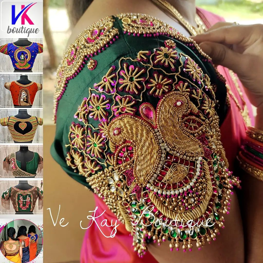 Stunning bottle green color bridal blouse with peacock hand embroidery bead and kundan maggam work.   2021-09-21