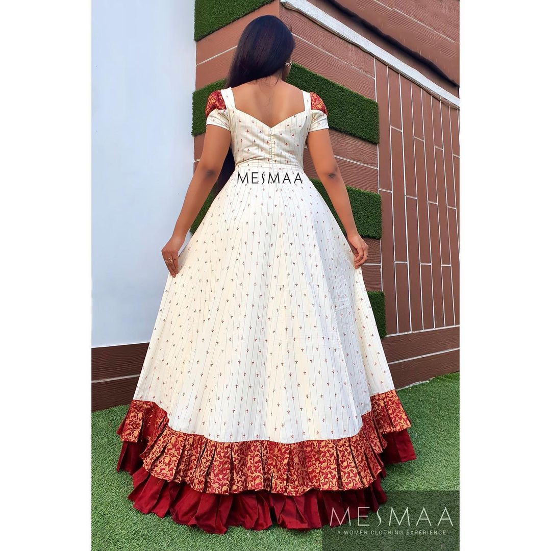 Beautiful white color long frock with pleated border.  2021-09-21