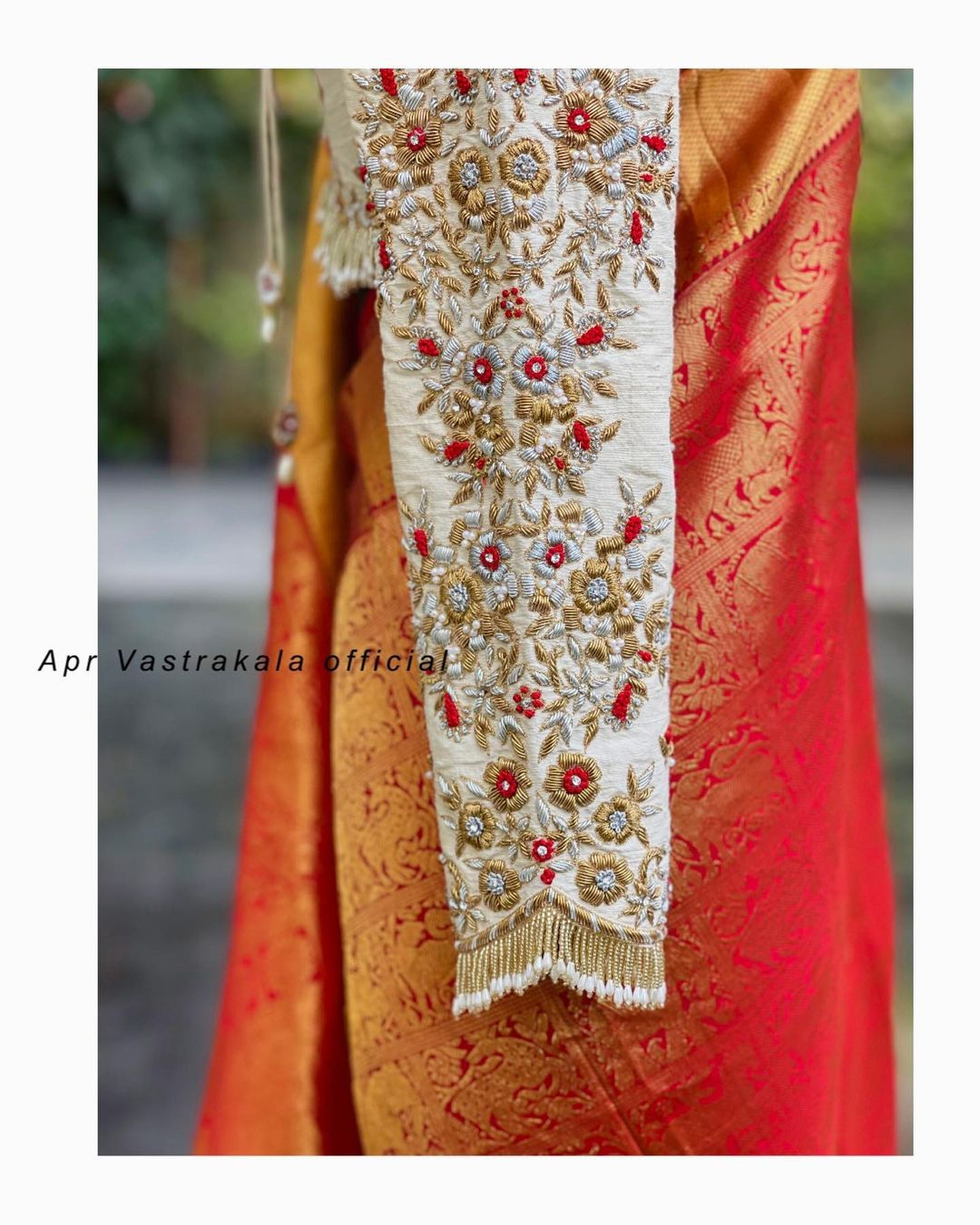 Stunning off white color 3/4th sleeve bridal blouse with floral creeper maggam work. 2021-09-21
