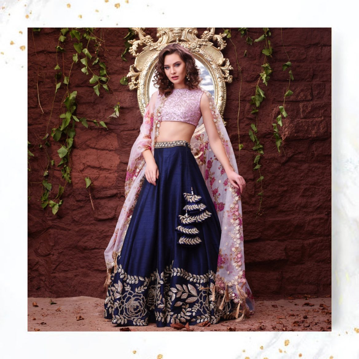 Feel the elegance in hand embroidered lehengas with a blush of floral glamour. 2021-09-22