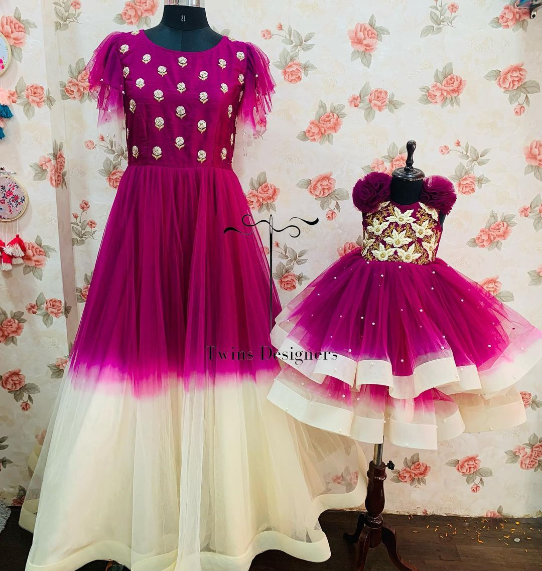 Beautiful purple and white color combo mom and daughter outfit. 2021-09-23