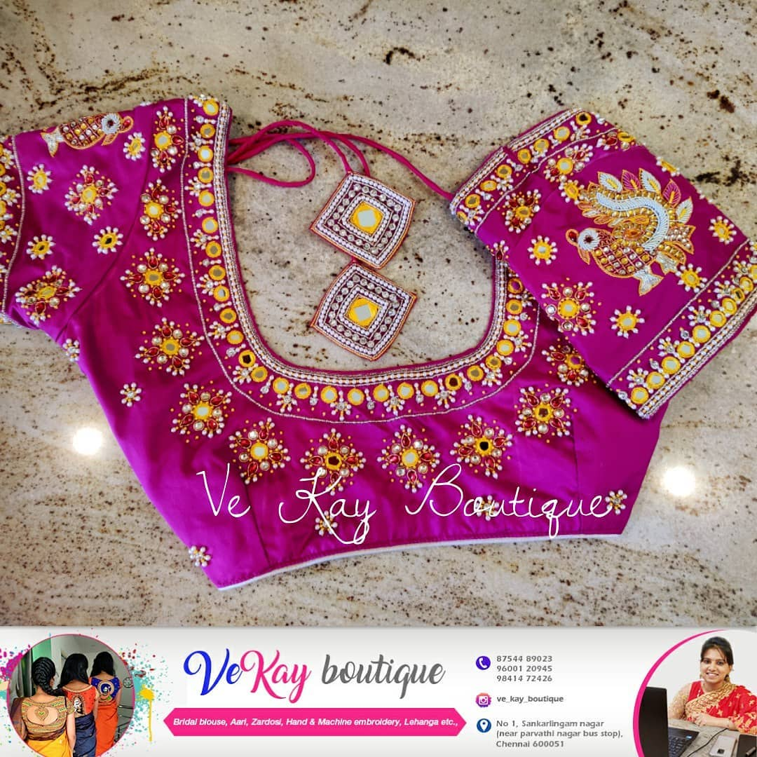Stunning pink color bridal blouse with swan and floral hand embroidery mirror and thread work.  2021-09-23