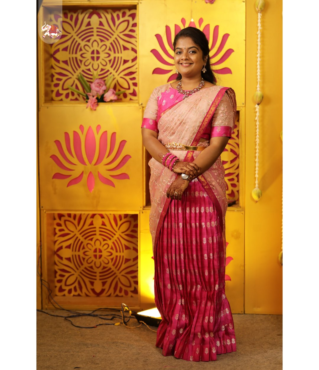 Dhanya looking gorgeous in pink Banarasi silk half saree! Pastel pink floral embroidered organza dupatta with pink banarasi silk skirt & blouse is the perfect choice of outfit for this wedding season. Get gorgeous customized outfits for your special occasion. Contact details in bio for booking an appointment! 2021-09-24