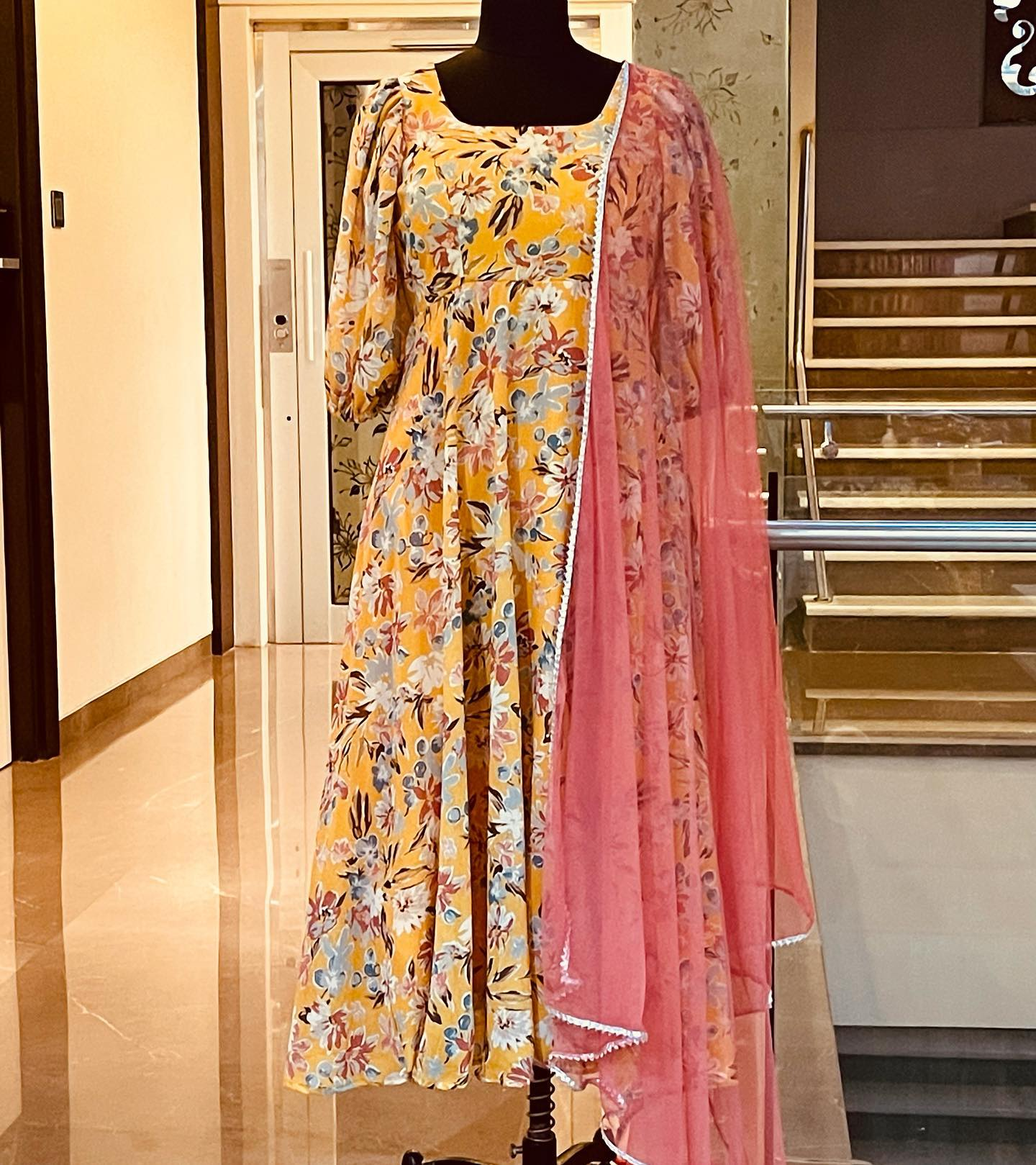 Beautiful yellow color Georgette floral long frock with blush pink color net dupayya. Price : 4500 INR. 2021-09-24