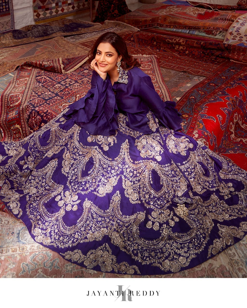 We can't get over Nisha Aggarwal's picture-perfect look in royal purple embroidered lehenga set.  2021-09-24