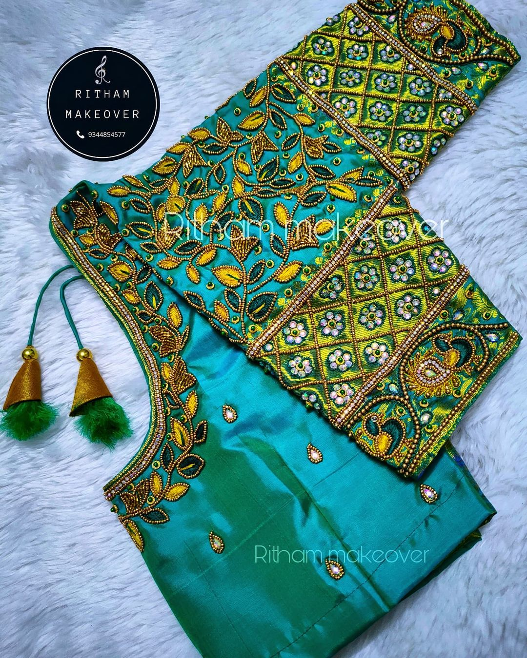 Beautiful bridal blouse with leaf creeper hand embroidery bead and thread maggam work.  2021-09-24
