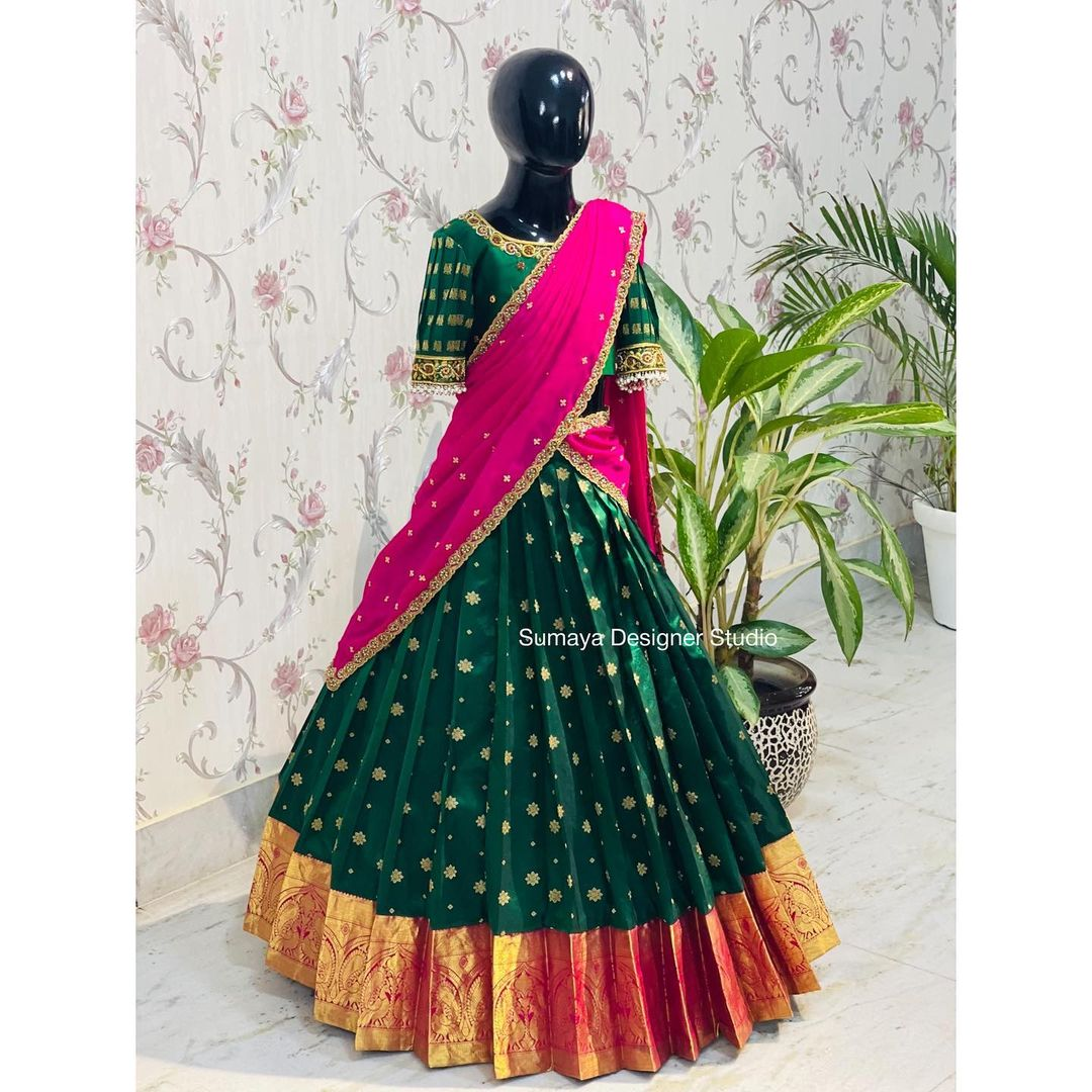Kids pattu Pavada!(Silk halfsaree)  Unique and wide range of kids Traditional silk half sarees. 2021-09-24