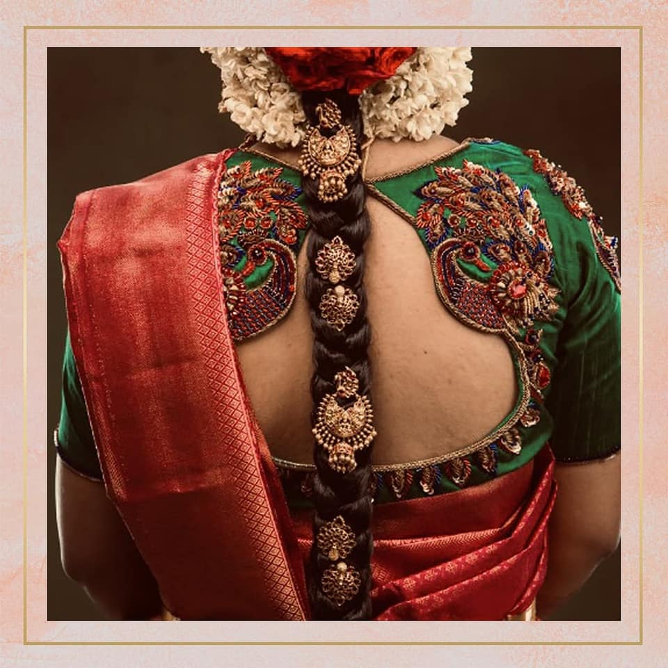 Gorgeous bottle green color bridal blouse with peacock hand embroidery gold thread maggam work.   2021-09-25