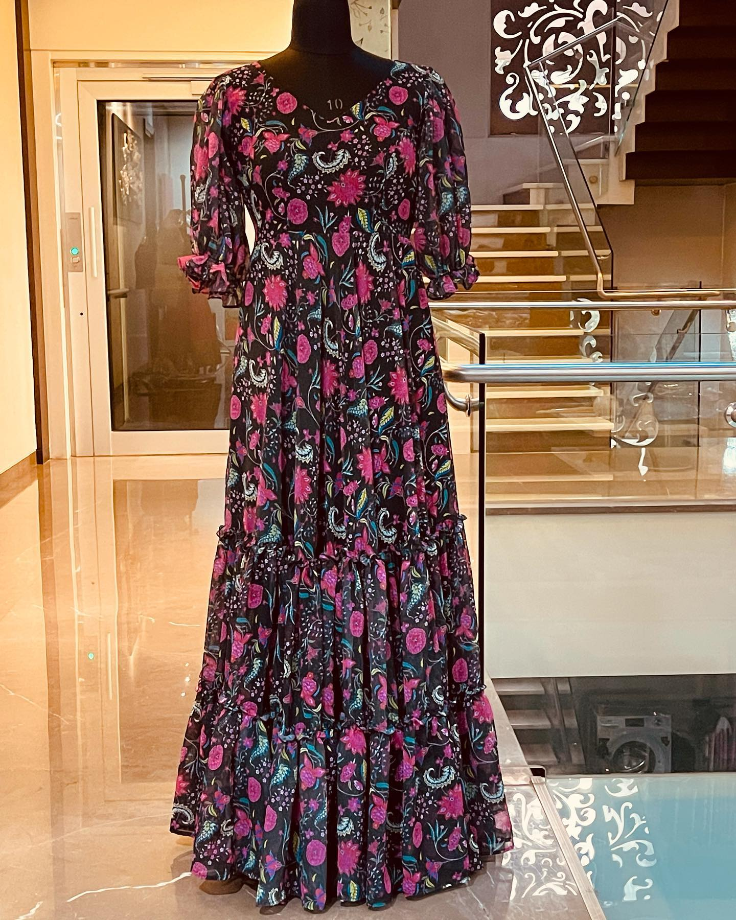 Georgette with heavy ruffle flare long frock. Price : 7000 INR. 2021-09-25