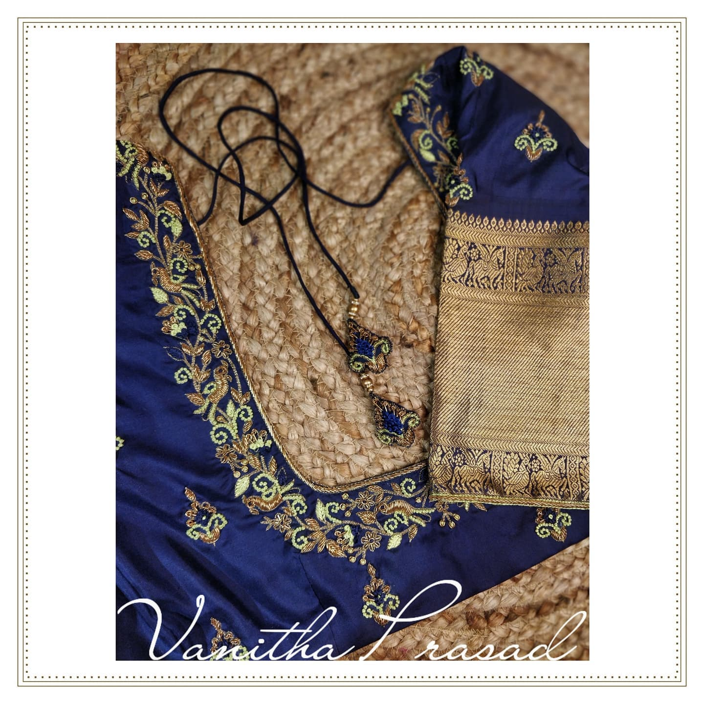 Simple blouse designs for casual occasions. Beautiful blue color blouse with floral and creeper simple maggam work. 2021-09-25