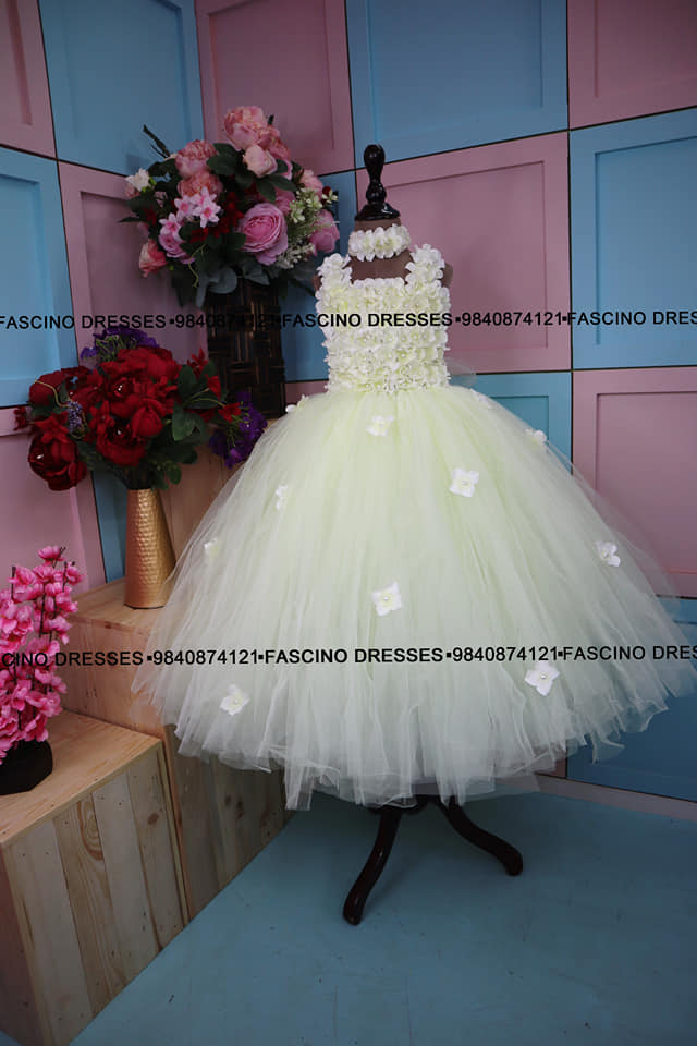 Ivory floral kids gown tutu from Fascino . Wats app or inbox to order 9840874121 Can customize in any color / size . 2021-09-25