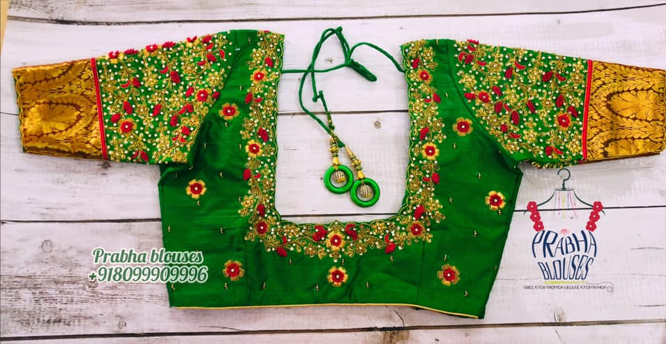 Gorgeous parrot green color bridal blouse with floral thread and stone maggam work. 2021-09-25