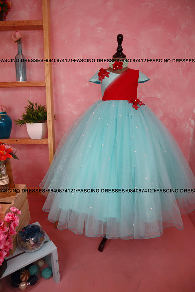 Sea green with red combo is such class right! A cross drape bodice with shimmer sea green kids gown from #Fascino ❣️❣️❣️ Wats app or inbox to order 9840874121 Can customize in any color / size. 2021-09-25