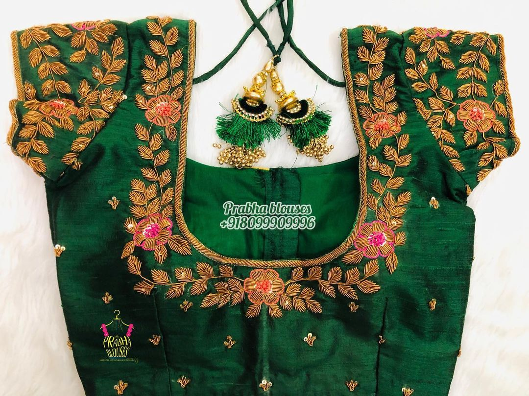 Gorgeous bottle green color bridal blouse with floral and creeper hand embroidery gold thread and bead maggam work. 2021-09-25
