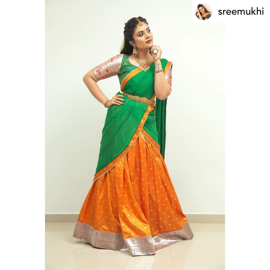 Gorgeous actress Sreemukhi in traditional halfsaree by Rekhas house of coutures . 2021-09-26