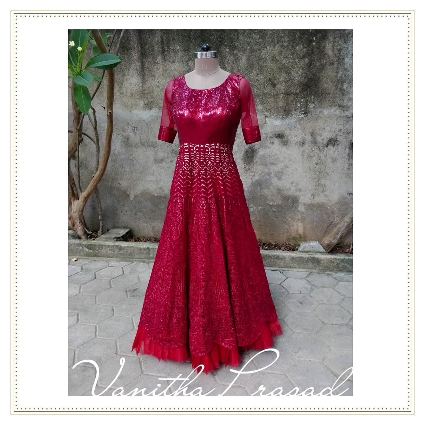 Stunning red color glittery floor length long frock. 2021-09-26