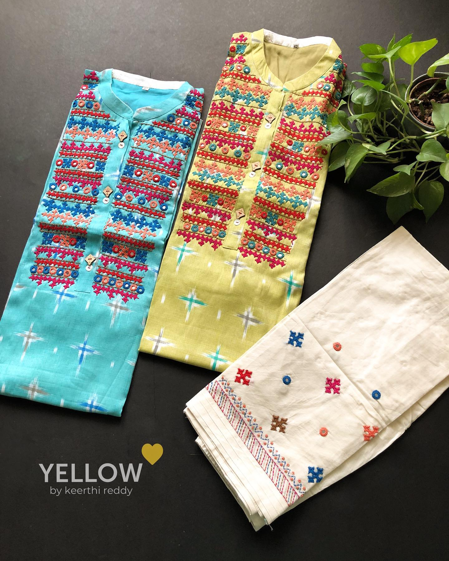 Khadi cotton kurti with kutch embroidery and mirror highlights. Size - L XL  XXL Price - 2299 INR Kindly WhatsApp @ 7995038888 for placing orders. 2021-09-26