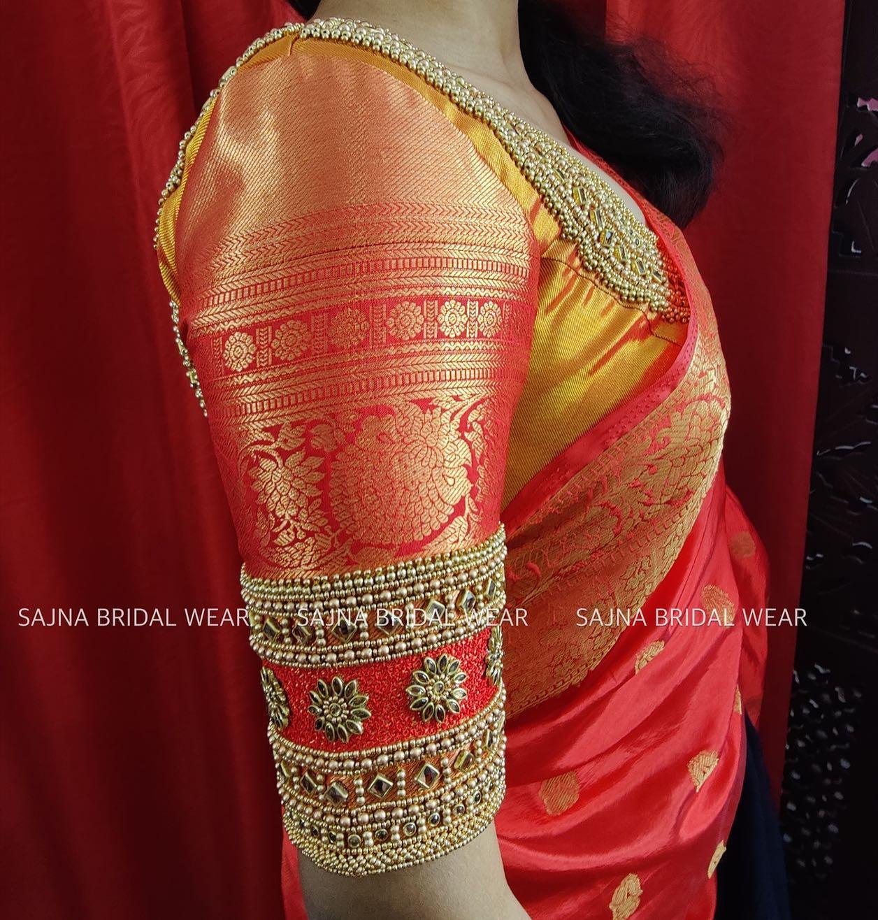 Beautiful bridal zari blouse sleeve with floral bead and kundan aari work.  2021-09-26