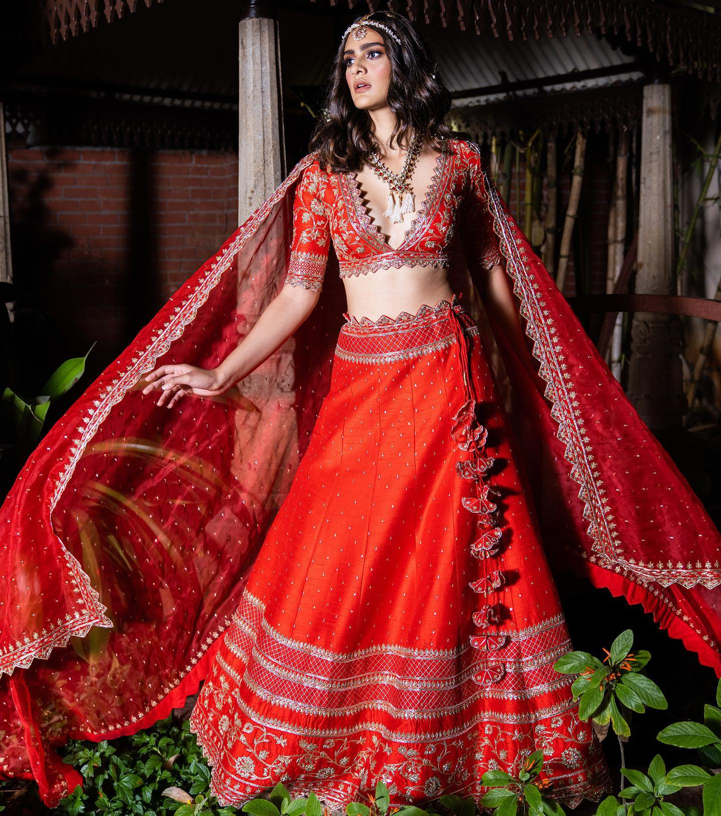 Beautiful tomato red color bridal lehenga and blouse with net dupatta. Blouse and lehenga with hand embroidery work.   2021-09-26