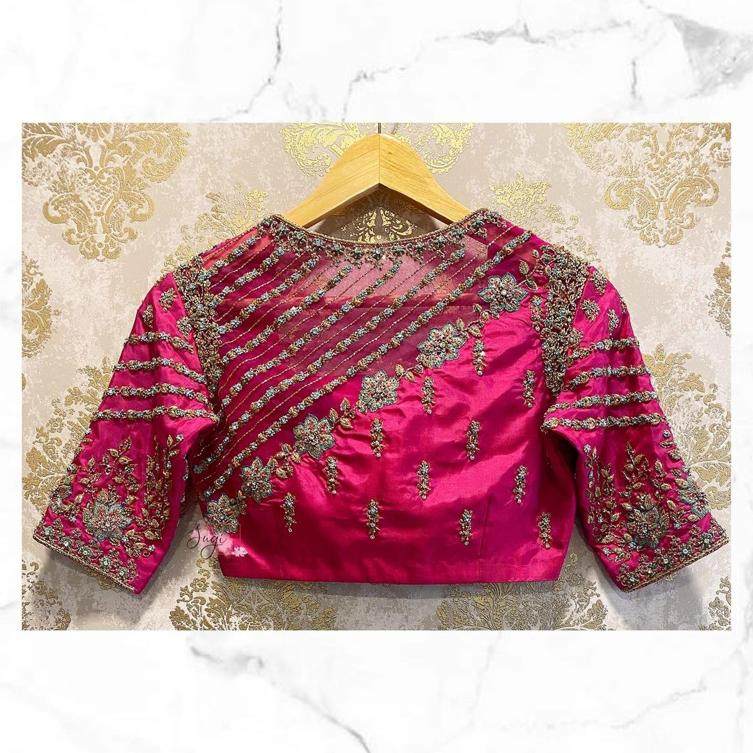 Gorgeous bridal blouse collection with gold thread and stone aari work. 2021-09-26