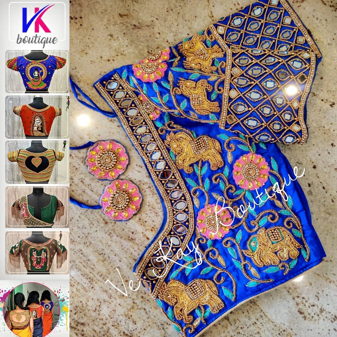 Gorgeous royal blue color blouse with horse and elephant motifs hand embroidery bead and mirror aari work.  2021-09-26
