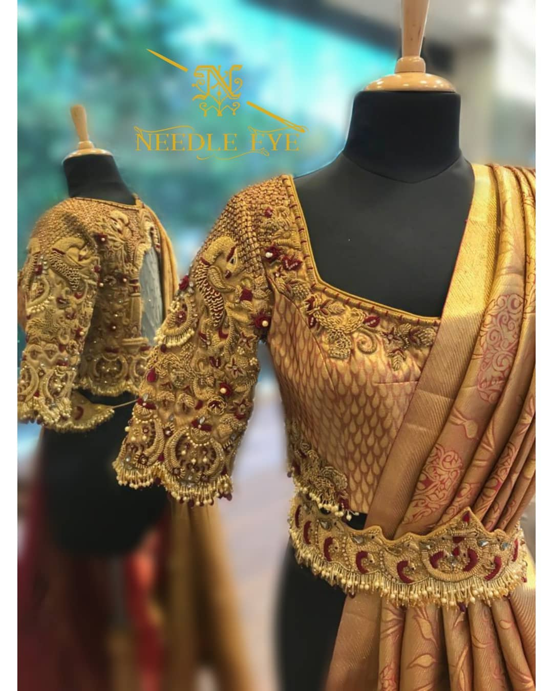 Design should speak of its time and place but yearn for timelessness. Stunning bridal blouse with peacock heavy maggam work. 2021-09-26