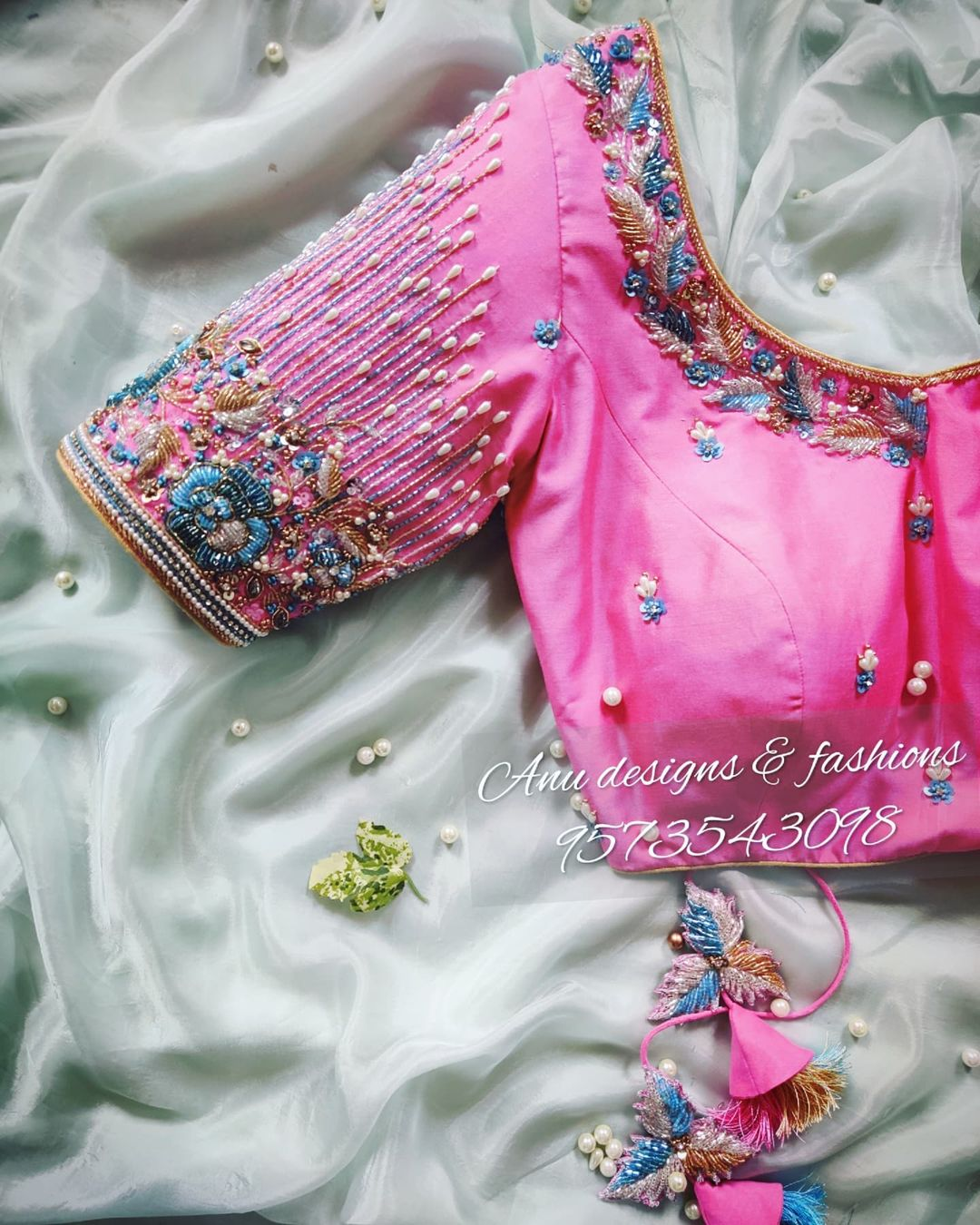 Gorgeous blush pink color bridal blouse with pearl and thread maggam work 2021-09-26