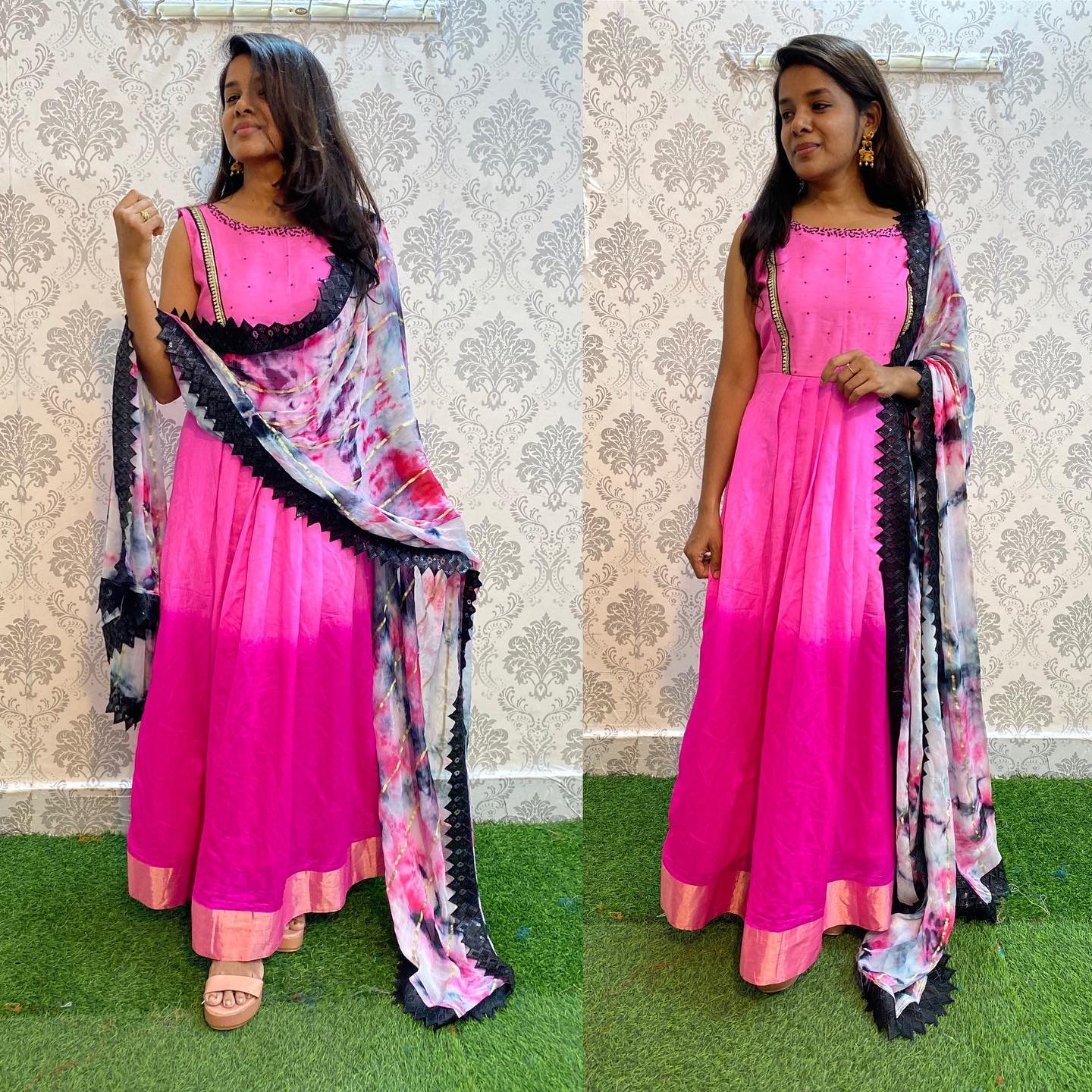 New Pink ombre Silk dress with shaded Duppata and hand worked yoke.  For orders watsapp on 8072774265 Mail  on orders@threadslabel.com. 2021-09-28
