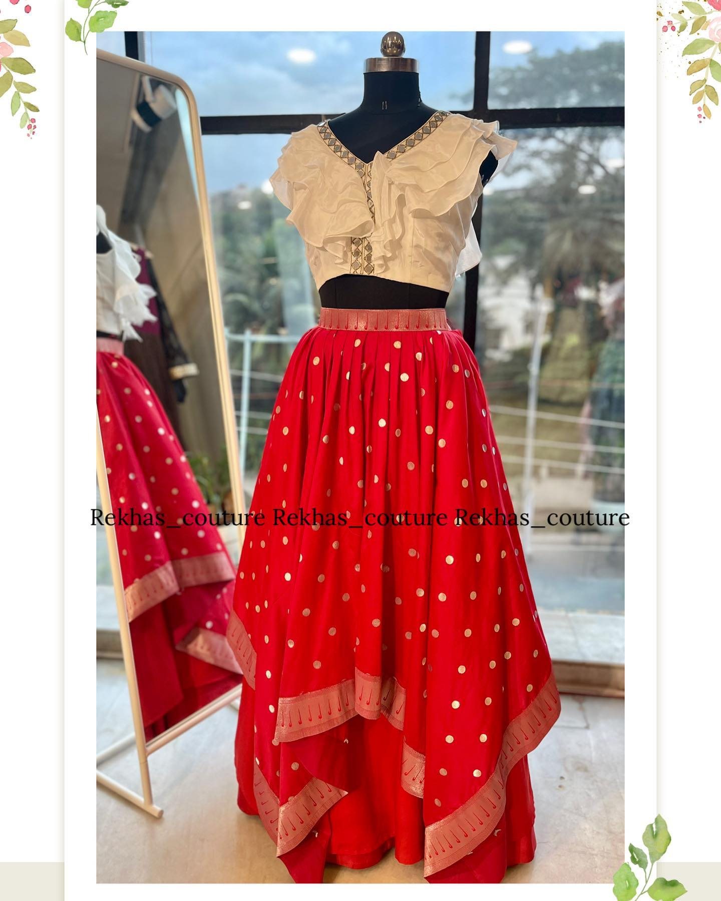 Beautiful red color asymmetric or high low pattu skirt and ruffle croptop.  2021-09-28