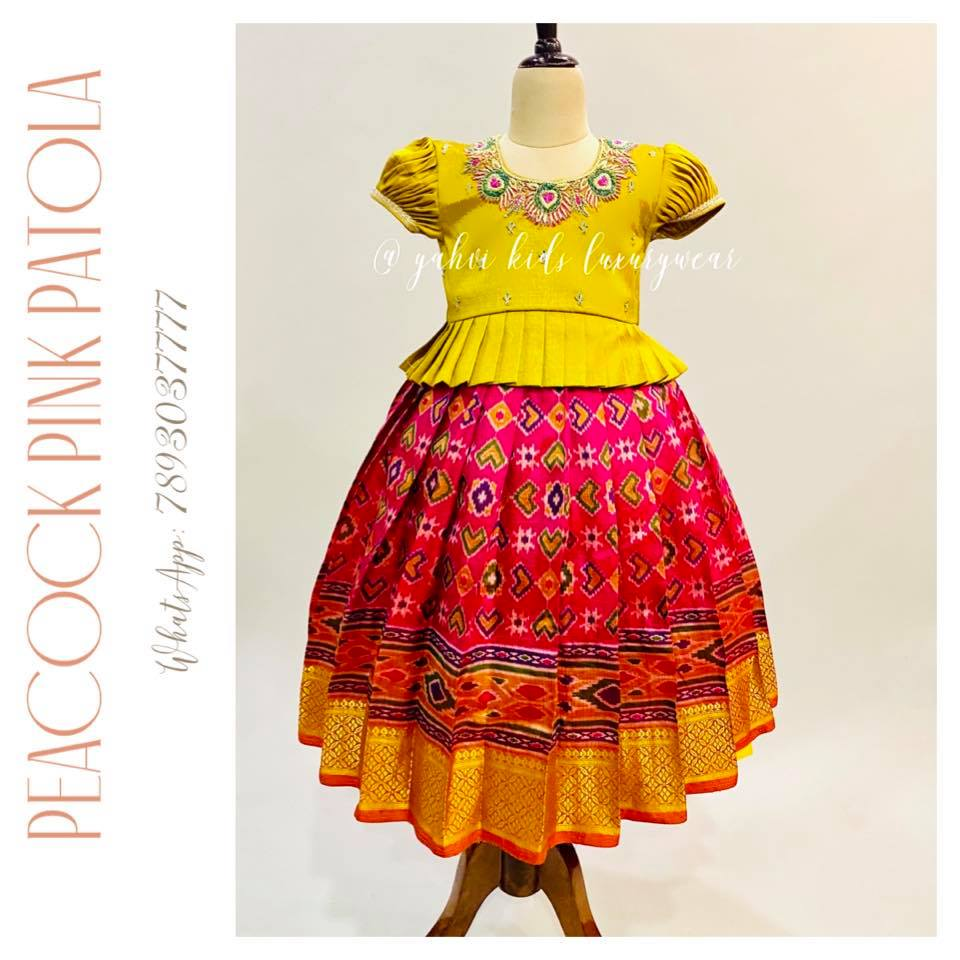 """"""" PATOLA kids LEHANGA"""" silk lehanga paired with yellow pleated blouse in beautiful and simple peacock feather embroidery work . Limited edition grab soon"""