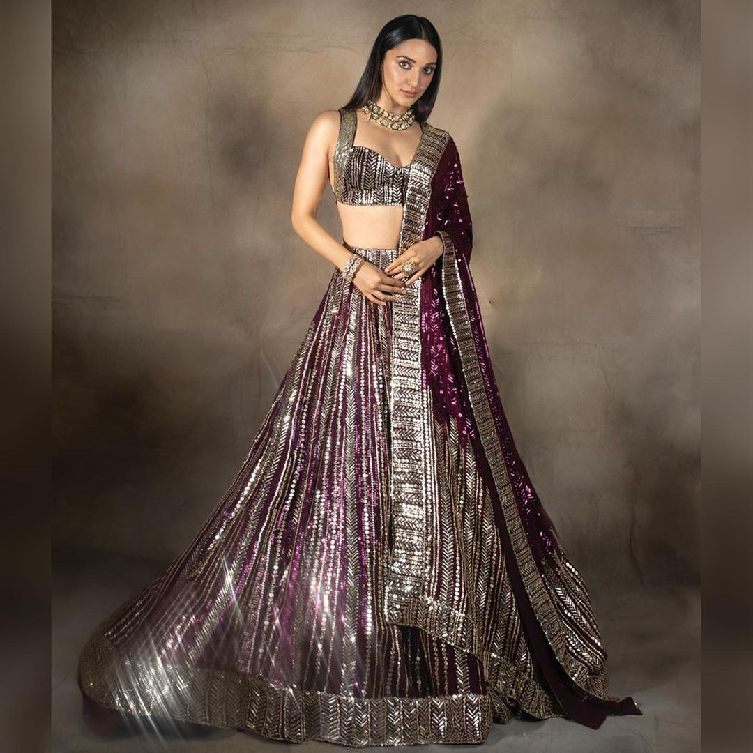 Did you hear the forecast? It's stunning Kiara Aadvani raining grace glamour and glitz in  pivotal element of Taban sequins. 2021-09-28
