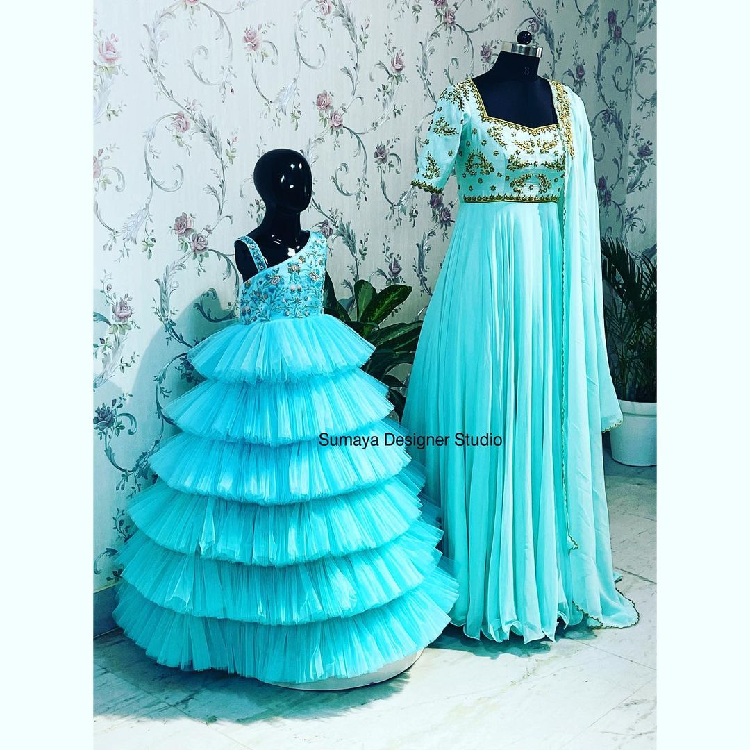 Be it traditional or western or indo-western Indo western gowns exclusive from the house of Sumaya ! Unique way of presenting kids collection With latest designs with great colour combinations  Call / what's app on 9986455888. 2021-09-28