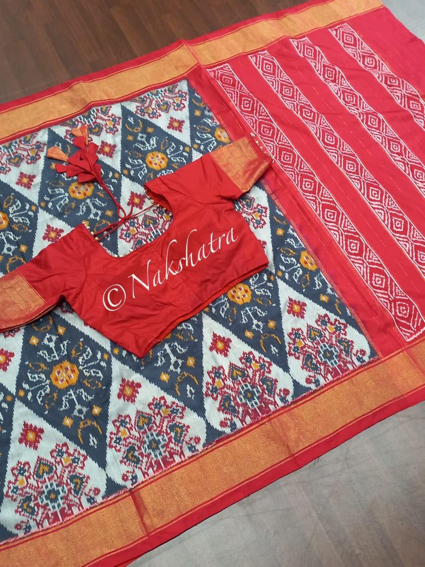 Grey and red combo Ikkath pure silk saree with red blouse. 2021-09-29